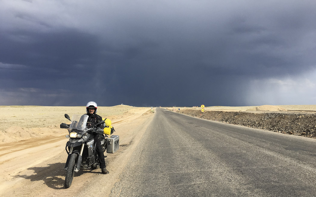 steppe with storm