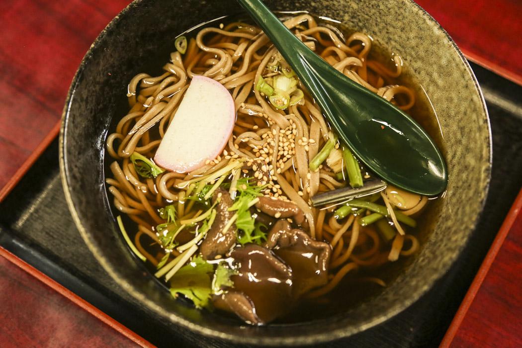 Soba noodles in a soup